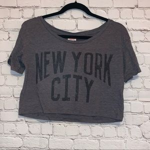 Mossimo Gray Cropped Short Sleeve Tee Shirt